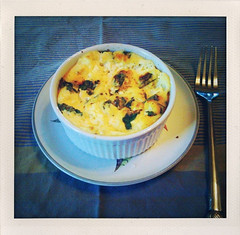 Breakfast: baked eggs with feta and basil