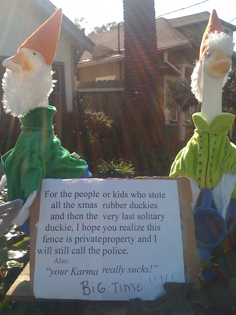 For the people or kids who stole all the xmas rubber duckies and then the very last solitary duckie, I hope you realize this fence is private property and I will still call the police. Also: