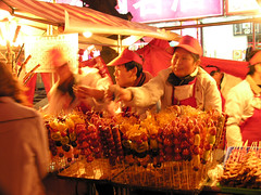 Chinese fast food (Roving I) Tags: china food streets tourism commerce fastfood markets beijing culture lifestyle stall dining skewers headwear