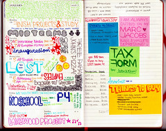 Week IV (sullface) Tags: red moleskine typography day calendar post notes bright lol girly anal journal it organizer week doodles said pens weekly 2009 planner organized staedtler jrnl fineliner stalkerish typog triplus