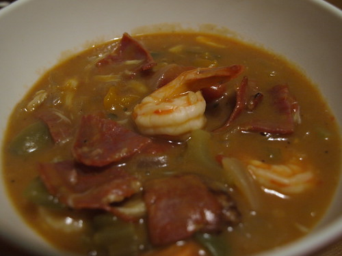 gumbo with chorizo, lump crab, and shrimp