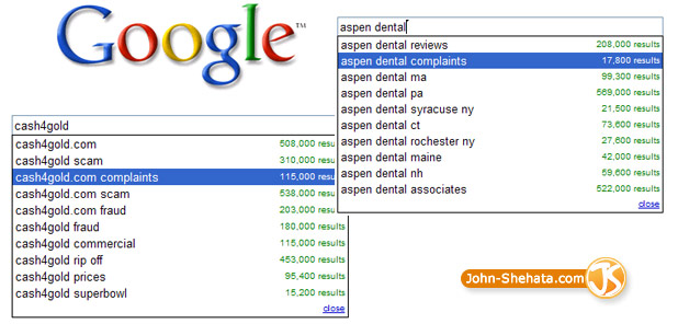 complaints Google suggestions