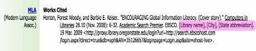 screenshot - MLA citation from EBSCO