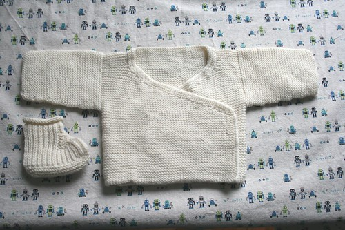 Garter baby kimono and one bootie.
