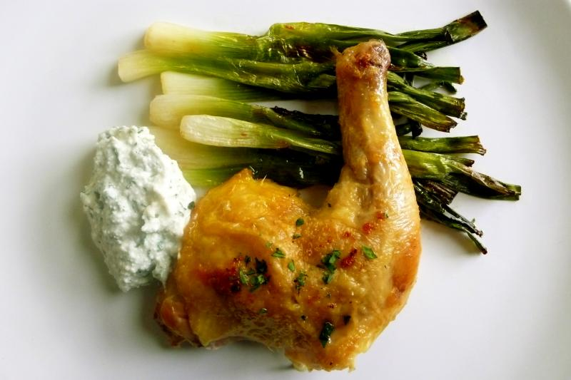 game hen with broiled scallions and tarragon ricotta