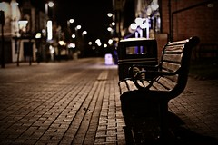 (andrewlee1967) Tags: street uk england urban night dark bench dof cheshire bokeh britain empty gb lonely desolate stalybridge ef50mmf14usm andrewlee 50d tameside canon50d stalyvegas