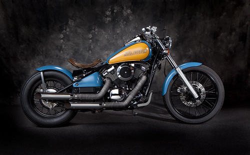 Blue and Yellow Kawasaki Vulcan 800 Bobber