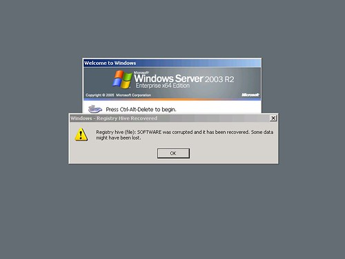 Windows Server 2003 Registry Hive Recovered