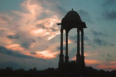 Sunrise at India Gate (Koshyk) Tags: blue light red sky color colour clouds sunrise dark soldier freedom memorial war colorful empty colonial royal glorious exploitation warmemorial unknownsoldier worldwar jyoti indiagate amarjawan eternallight
