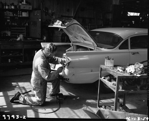 Mechanic at Charles Street Shops, 1959
