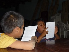 Boys practice their reading.
