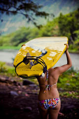 (SARA LEE) Tags: morning girl yellow walking hawaii design early surf photoshoot board valley bigisland leash sup waipio nalu waipiovalley sarahlee hypr legothenego standuppaddle nadiak vivantvie hyprnalu