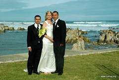 newly (Rushay) Tags: ocean blue wedding sea sky black flower beach water grass clouds southafrica nikon shoes couple rocks waves dress african indianocean couples tie marriage husband suit wife easterncape portelizabeth seaocean d80