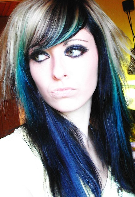 blue and black hair emo. emo scene girl bibi barbaric. black blonde blue green hair style