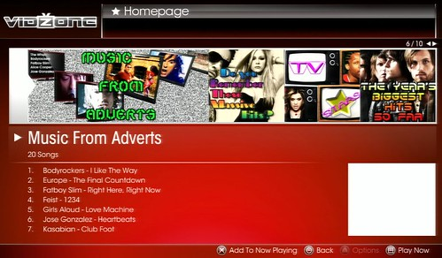 VidZone Homepage: Music From Adverts