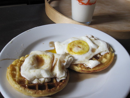 waffles, eggs and maple syrup