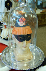 Pleasant Under Glass (contrarymary) Tags: halloween mask pleasanton belljar vintagetreasures americanharvest