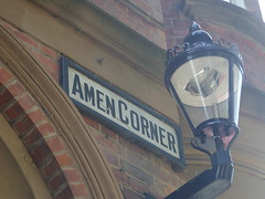 Amen Corner (Nekoglyph) Tags: road street urban lamp sign wall bricks newcastleupontyne amencorner