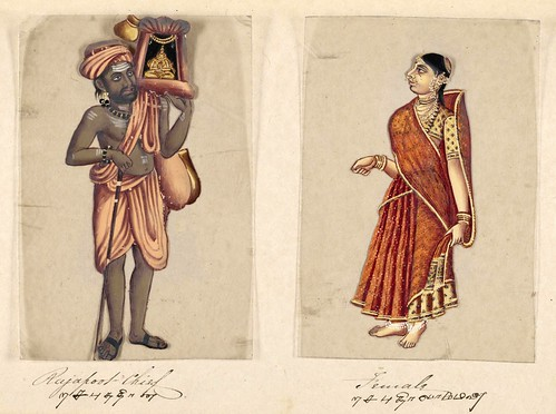 003-Jefe Rajapoot y su mujer-Seventy two specimens of castes in India 1837