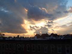Same sunset but a slightly different angle. (yankeesmann1918) Tags: nyc sunset rays crespucular