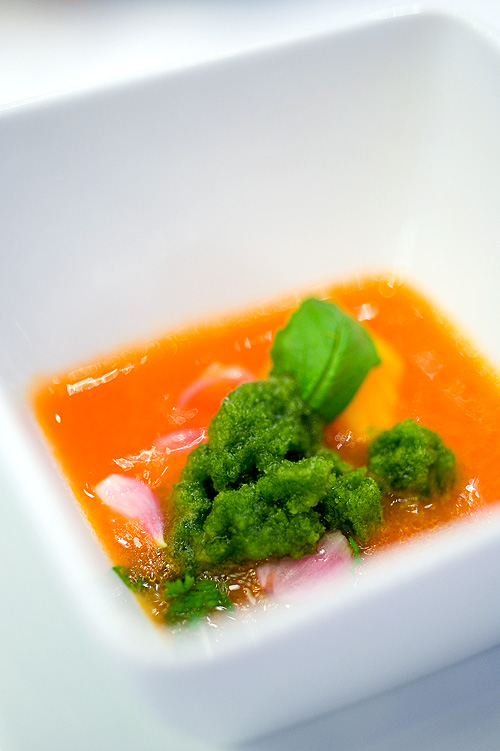 Chef David Kinch's Tomato soup, barley cooked, with coriancer ice, Four Seasons Bangkok's World Gourmet Festival