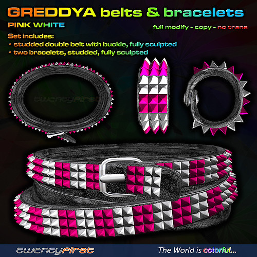 GREDDYA-belts-PINK WHITE