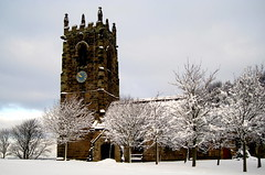 Emley, Winter 2011. (littlestschnauzer) Tags: christmas uk morning trees winter england sky white snow tower clock church st parish stone century worship exterior village snowy branches yorkshire scene covered 14th snowfall treeline archangel michaels wintry emley