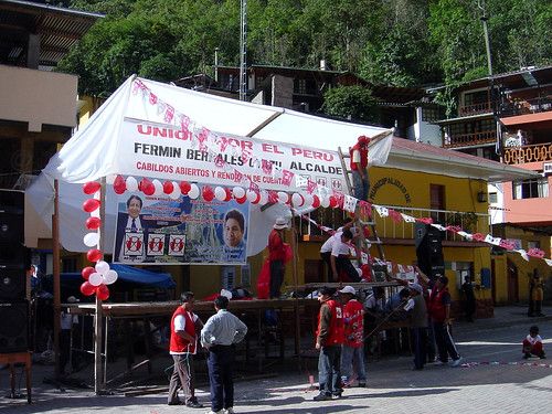 An election dais in the main square in Aguas Calientes