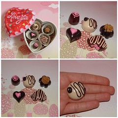 Special Edition for Valentine - 5X Chocolates Magnets in Heart Box (polymer clay) Set A (yifatiii) Tags: food love coffee pc holidays candy chocolate nuts valentine polymerclay fimo gift sculpey etsy magnet tls truffles chocolatebox varnish perlin bemine premo loveya silvercups yifatiii liquidpolymerclay