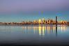 Seattle Skyline Reflection on Elliot Bay (Surrealize) Tags: seattle city pink sunset cloud reflection fog skyline buildings nikon purple spaceneedle pugetsound hdr elliotbay columbiatower d700 surrealize