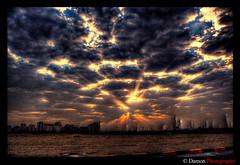The Sky Is Exploding (Damon | Photography) Tags: morning blue sunset sky cloud sun fall yellow set clouds geotagged nikon sundown down kuwait rise showcase damon hdr explode q8 d40 mywinners nikond40 anawesomeshot vosplusbellesphotos geo:lat=2931166 geo:lon=47481766 ishbelia