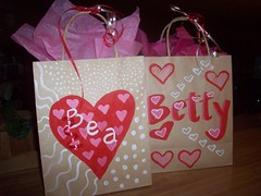 V-day hand painted gift bags