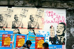 Life is Beautiful (THEfunkyman) Tags: street people streetart paris art collage word metro market einstein crowd foule dali bastille march mot faved