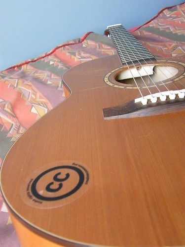CC sticker on guitar