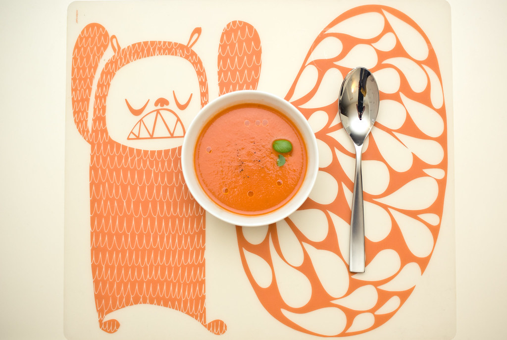 tomato bisque with matching color