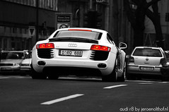 Audi R8 (Jeroenolthof.nl) Tags: bw white motion black beautiful car modern germany deutschland photography grey lights is moving amazing nice movement jeroen nikon driving view shot rear great d70s automotive explore 200 if paparazzi 28 lovely nikkor dusseldorf audi 80 panning zwart wit rs allemagne exclusive f28 duesseldorf avant s4 c6 duitsland s5 r8 rs6 steinstrasse 80200 zw s6 s8 koenigsallee automotion q7 q5 olthof konigsallee wwwjeroenolthofnl jeroenolthofnl jeroenolthof