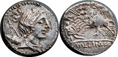 335/9 #9240-39 A.ALBINVS Diana Three horsemen attack warrior Denarius
