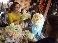 Yilin and mom working on flowers