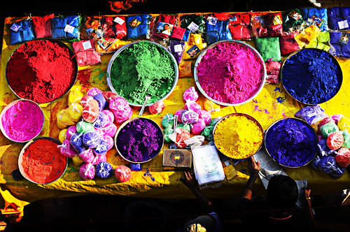 Gulal or colours for Holi celebration being kept for sale