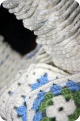 Loads of tiny Granny's (eLNeLLAN) Tags: blue white green square crochet blanket afghan granny 2009 grannie bltt hekl grannysquares happyhooker grnt hvtt teppi hannyri