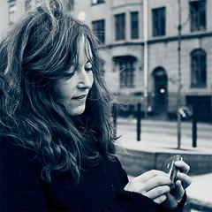 the girl and the camera phone (Ben Locke) Tags: portrait square march duotone ursula vesterbro