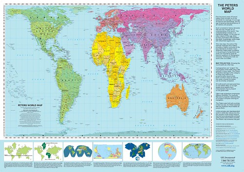 "Peters Projection World Map (35"" x 51"") by inju"