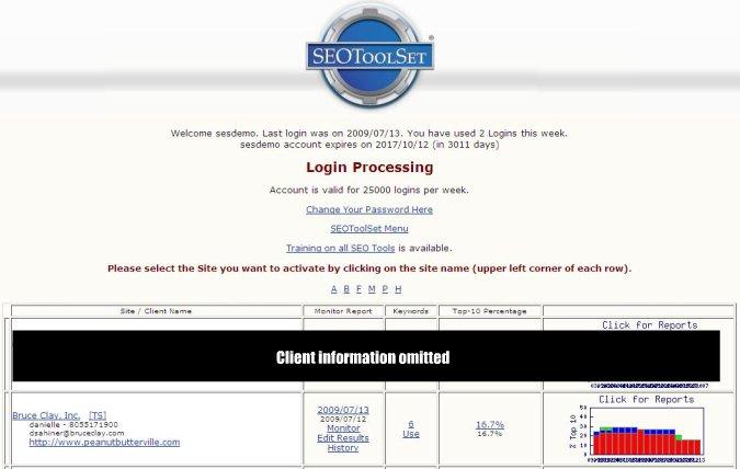 SEOToolSet client page
