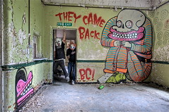 BC - 'They Came Back' (Romany WG) Tags: park street urban west art abandoned hospital graffiti bc explorer cyclops asylum urbex burningcandy sweettoof
