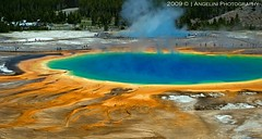 Grand Prismatic 10 (Mary Angelini Photography) Tags: park travel blue red vacation hot color nature water pool yellow vent spring colorful grand tourist aerial basin steam mat national yellowstone wyoming geyser midway geo volcanic bacteria thermal boiling prismatic scalding