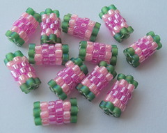 12 Watermelon Handmade Peyote Beads (fivefootfury) Tags: handmade watermelon bead peyote supplies beaded beadwork pinkandgreen peyotestitch handmadebeads beadedbeads beadedbead setof12 ebwteam