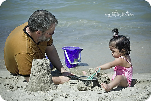beach baby with Daddy