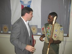 Senator Peters awards Jordan Coffie with a Senate Citation