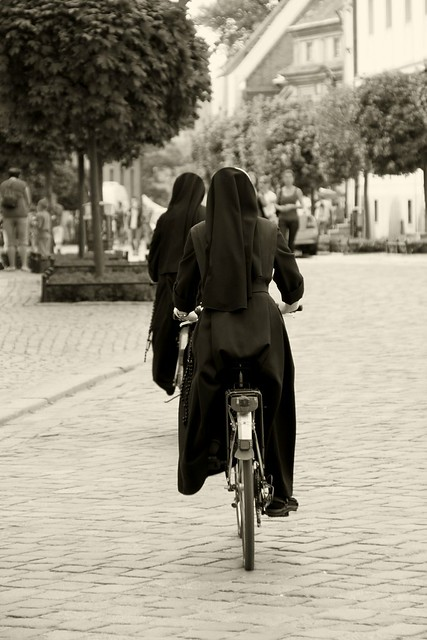 Nuns on bicycle... [B&W]