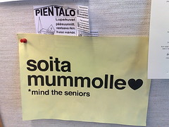 soita mummolle ~ call granny (hugovk) Tags: cameraphone summer sign yellow suomi finland poster nokia helsinki call heart july supermarket noticeboard mind helsingfors granny hvk 2009 ~ seniors kes 8gb uusimaa nyland n95 heinkuu mummolle hugovk soita camera:Make=nokia exif:Focal_Length=56mm exif:ISO_Speed=160 nokian958gb exif:Flash=offdidnotfire exif:Aperture=28 240720094573 soitamummolle mindtheseniors exif:Exposure=153 exif:Orientation=horizontalnormal camera:Model=n958gb meta:exif=1364124148 soitamummolle~callgranny